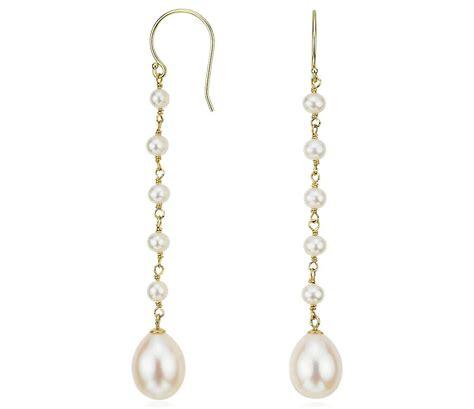 freshwater cultured pearl drop earrings in 14k yellow gold
