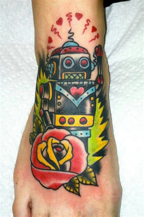 robot hand tattoo mikey sarratt neo traditional robot