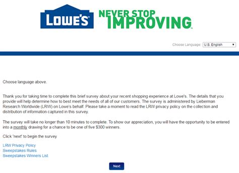 Lowes Survey Sweepstakes - lowes survey guide customer survey assist