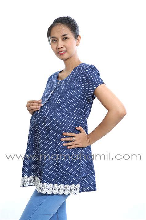 Baju Kerah Polkadot Biru baju pendek polkadot renda biru