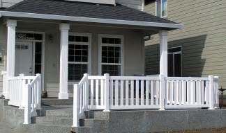 vinyl front porch railing from pioneer fence deck