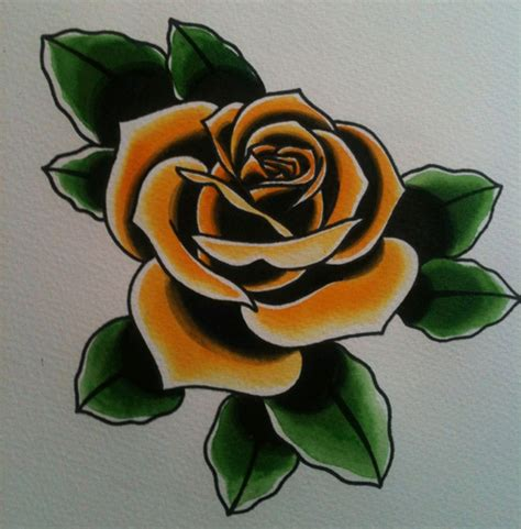 traditonal rose tattoo yellow traditional tattoos