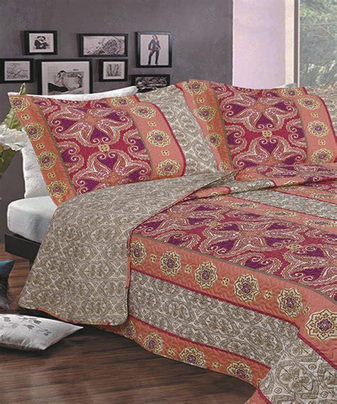 bohemian quilt bedding coral taupe bohemian reversible quilt bedding set