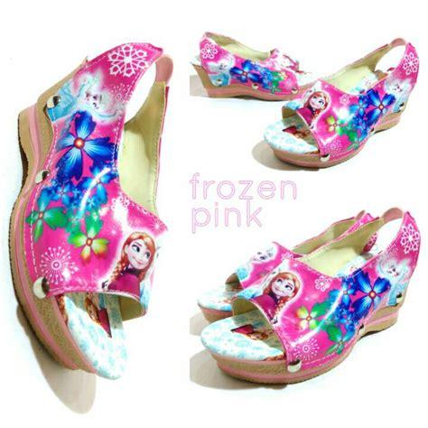 Sendal Tinggi Pink jual wedges frozen pink sepatu anak hak tinggi sepatu sandal frozen pink kuyindshop di