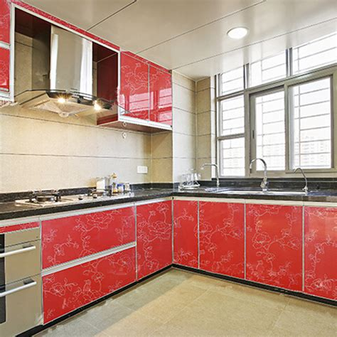 sticky kitchen cabinet doors yazi gloss red peony kitchen cupboard door cover