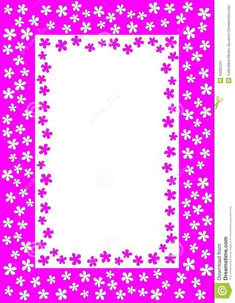 bloemen schrijven kader met roze en witte bloemen stock afbeeldingen