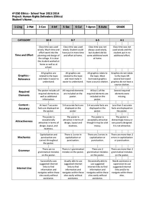 Business Letter Rubric Pdf Human Rights Project Rubric