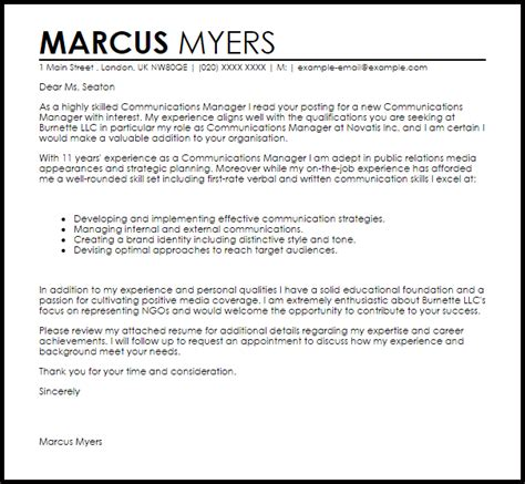 Communications Manager Cover Letter Sample   LiveCareer