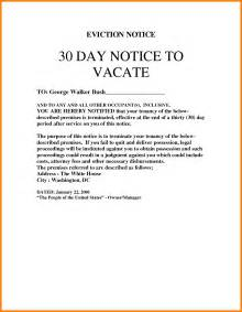 template for 30 day notice to landlord 30 day notice to vacate letter to tenant template