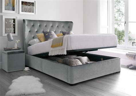 gray storage bed savannah upholstered winged ottoman storage bed velvet grey storage beds beds