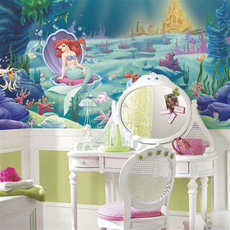 little decorations disney little mermaid wallpaper mural girls green wall