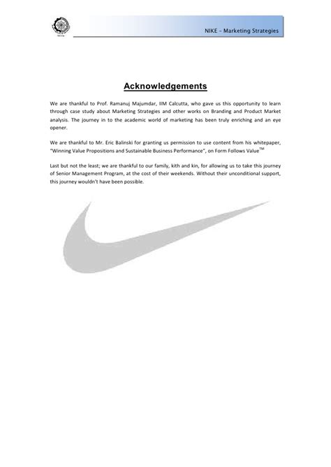 Sponsorship Letter Nike nike marketing strategies