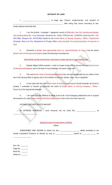 14 affidavit of loss sles templates free pdf format