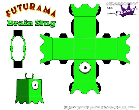 Futurama Papercraft - futurama brain slug cubeecraft template by skgaleana on
