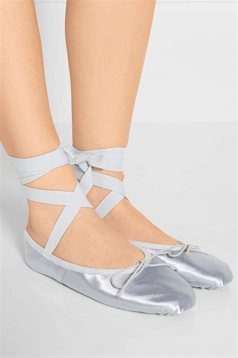 silver slippers shoes lyst ballet beautiful metallic satin ballet slippers in