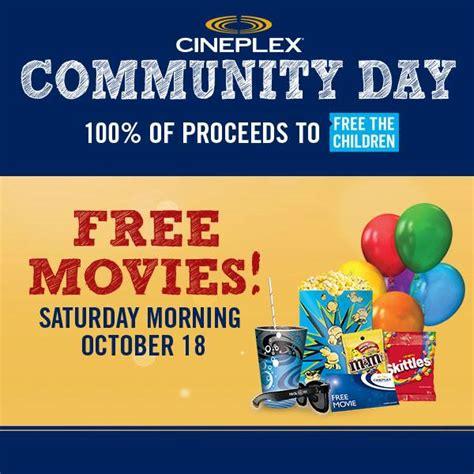 cineplex free movie day october 13 october 19