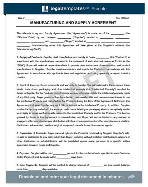 supply agreement template free manufacturing supply agreement create a