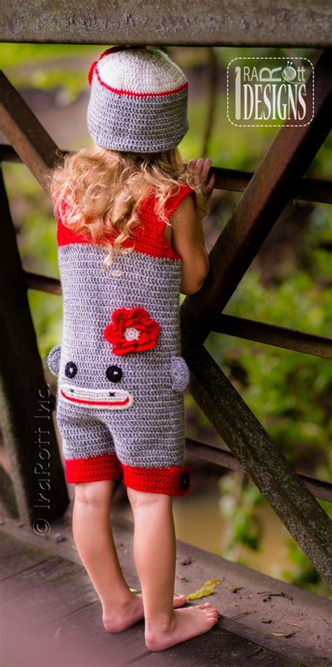 clothes pattern for sock monkey girly sock monkey hat and romper jumpsuit outfit for