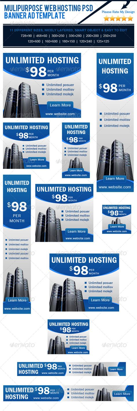 multipurpose web hosting psd banner ad template fonts