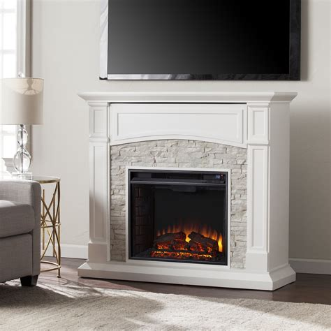seneca electric media fireplace white  white