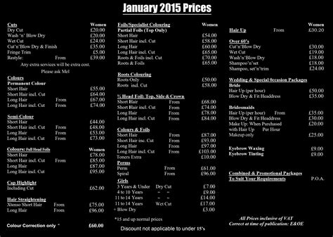 jcp hair salon price list designing a price list for salon joy studio design