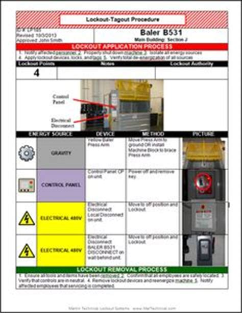 Lockout Tagout Loto Or Lock And Tag Is A Safety Procedure Which Is Used In Industry And Cal Osha Lock Out Tag Out Procedure Template