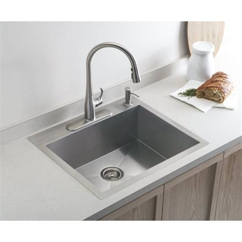 kitchen sink kohler kohler vault medium single 635mm x 559mm brushed steel