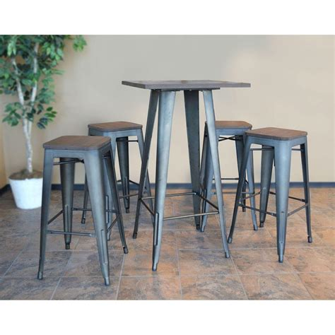 bar top sets amerihome loft style rustic gunmetal bar set with