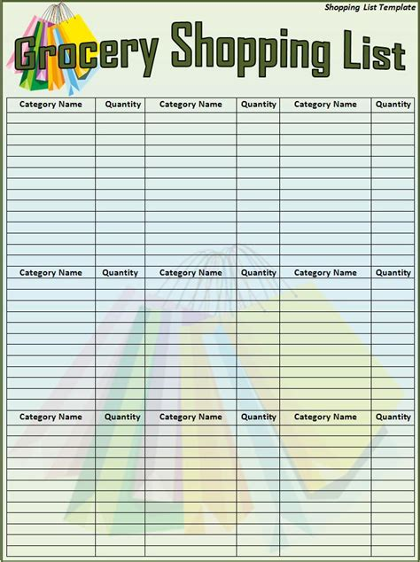 family schedule grocery list template word excel templates