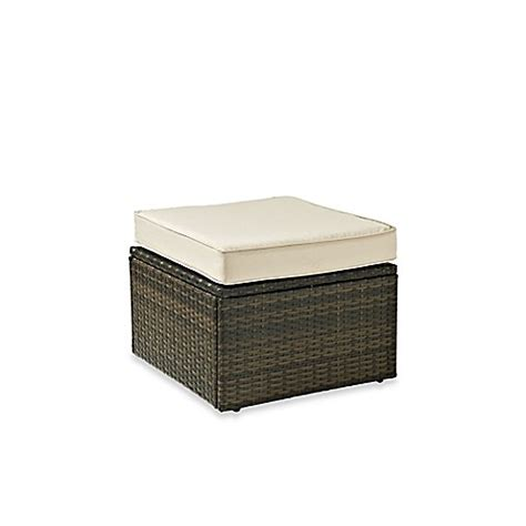 brown wicker ottoman crosley palm harbor collection outdoor wicker ottoman