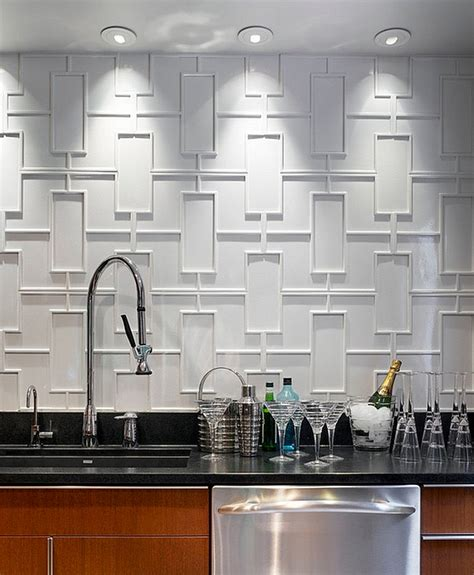 latest trends in kitchen backsplashes geometric backsplash of modern kitchen decoist