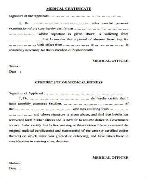 sample medical certificate template free sample templates