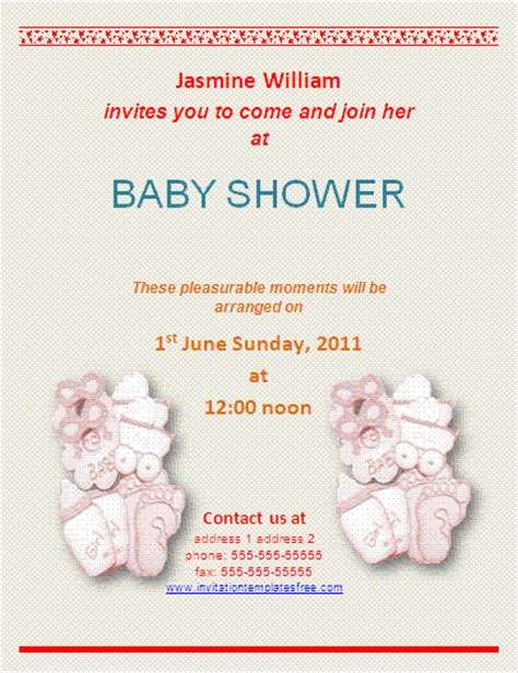 templates for baby shower menus babyshower invitation templates free business templates
