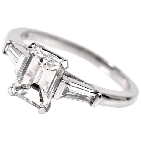 classic emerald cut baguette platinum engagement