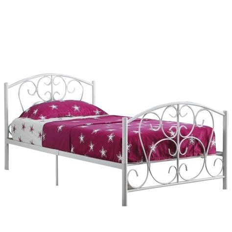 white metal bed frame twin twin metal bed frame in white i 2390w