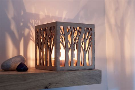 tree pattern candle holder wooden candle holder 5th anniversary gift personalised gift