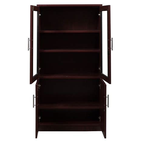 Mahogany Bookcase With Glass Doors Everyday 65 In Laminate Bookcase With Glass Doors