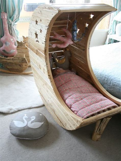 Pallet Crib Moon Shaped Baby - moon cradle embraces your baby comfortably for a healthy