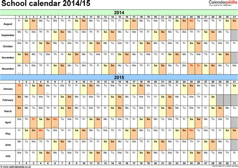 2014 2015 academic calendar template school calendars 2014 2015 as free printable excel templates