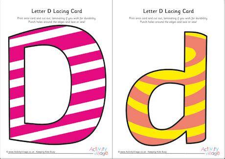 alphabet lacing cards templates letter d lacing card