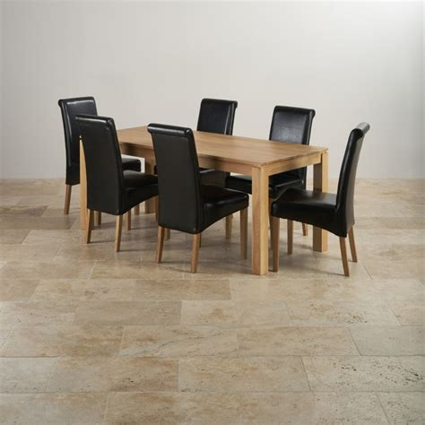 galway dining set in oak dining table 6 leather