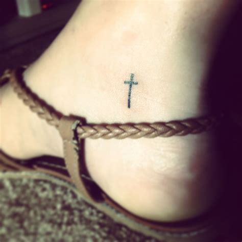 small cross foot tattoos small ankle of a cross tattoos