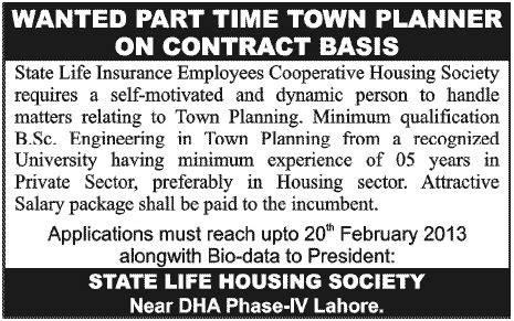 state life insurance housing society lahore state life housing society lahore job for part time town planner in lahore jang on 11