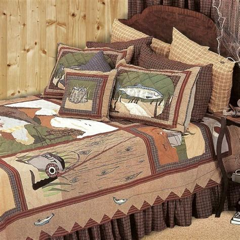 Sham For Bed Gone Fishing Quilt Collection Cabin Place