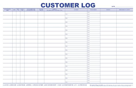 Jumbo Customer Log Bpi Dealer Supplies Customer Log Sheet Template
