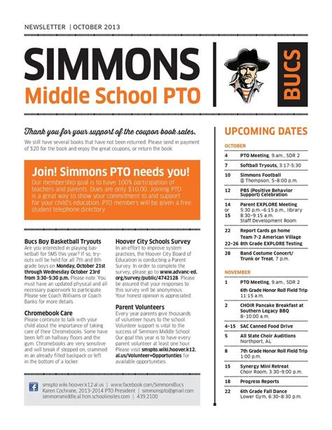pto newsletter templates free best 25 school newsletter template ideas on
