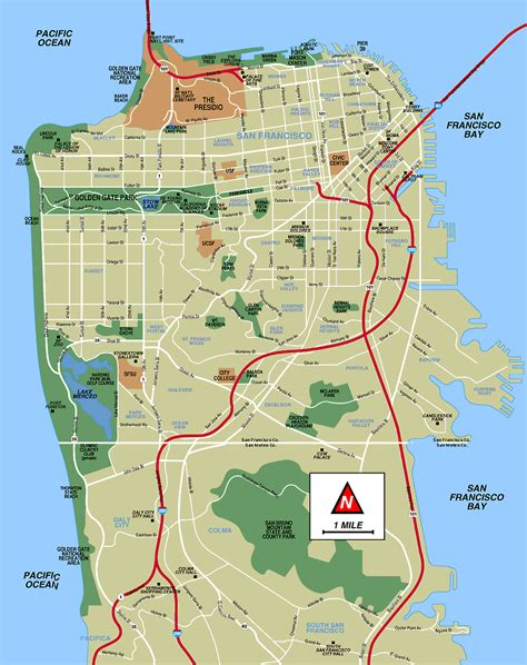 map of san francisco san francisco map free printable maps