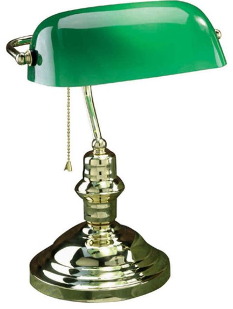 banker s l antique brass with green glass shade type