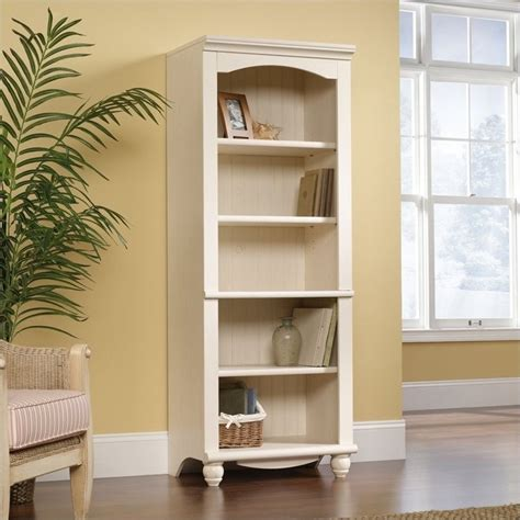 sauder harbor view bookcase library 5 shelf bookcase in antiqued white 158085