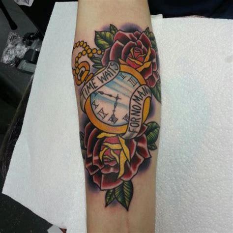 tattoo old school clock arm clock old school flower lettering tattoo by alans